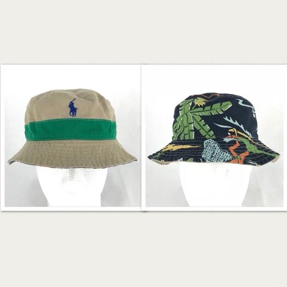 c87adeaa6b6 Polo Ralph Lauren Reversible Beach Bucket Hat Cap.  M 5b314987409c1594f44bb49d